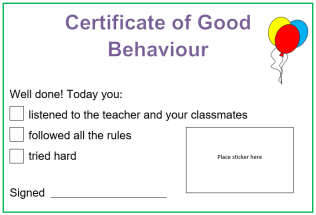 behaviour certificate image